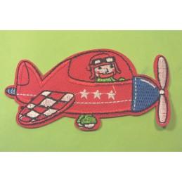 APPLIQUE TISSU THERMOCOLLANT : avion rouge 10*5cm