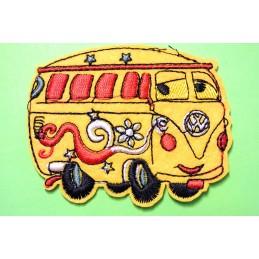 APPLIQUE TISSU THERMOCOLLANT : Van jaune 7*6cm