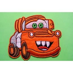 APPLIQUE TISSU THERMOCOLLANT : camion Car's orange 8*7cm