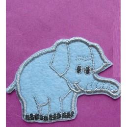 APPLIQUE TISSU THERMOCOLLANT : elephant bleu 6.5*6cm