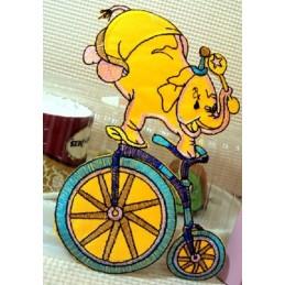 APPLIQUE TISSU THERMOCOLLANT : elephant sur vélo 16*10cm
