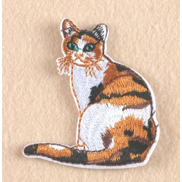 APPLIQUE TISSU THERMOCOLLANT : chat marron/blanc 7*5cm