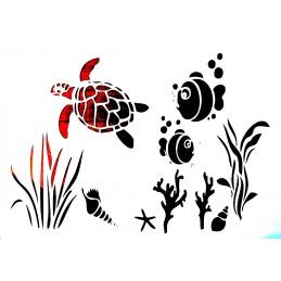 POCHOIR PLASTIQUE 30*21cm : tortue et poissons