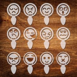 12 Pochoirs coffee smileys 50 mm