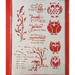 POCHOIR PLASTIQUE 30*21cm : chouette, fleur et arbres