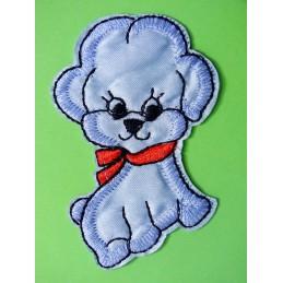APPLIQUE TISSU THERMOCOLLANT : chien bleu/noir 7*5.5cm (14)