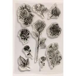 10 Tampons en silicone transparent  motifs : roses