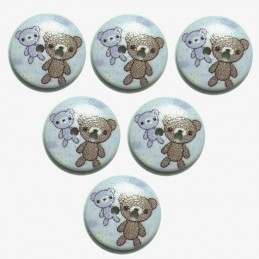 LOT 6 BOUTONS BOIS : rond motif ourson 15mm (n°02)