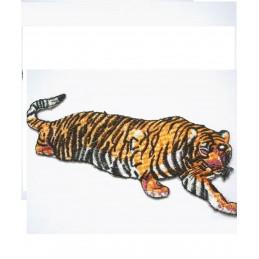 APPLIQUE TISSU THERMOCOLLANT : tigre marron/blanc 17*7cm (04)