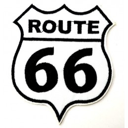 APPLIQUE THERMOCOLLANT : Route 66 blanc/noir  9*7cm