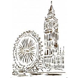 POCHOIR PLASTIQUE 30*21cm : monument - la tour horloge du palais de Westminster