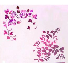 POCHOIR PLASTIQUE 13*13cm : rose et fleur (03)