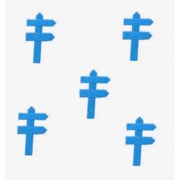 MINIATURE EN BOIS : lot de 5 pancartes de direction bleu 5*3cm