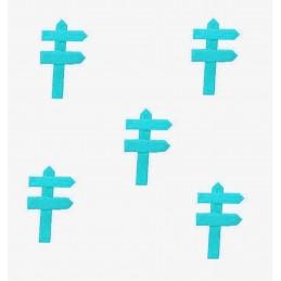 MINIATURE EN BOIS : lot de 5 pancartes de direction bleu ciel 5*3cm