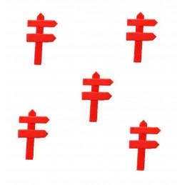 MINIATURE EN BOIS : lot de 5 pancartes de direction rouge 5*3cm