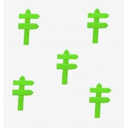 MINIATURE EN BOIS : lot de 5 pancartes de direction vert 5*3cm