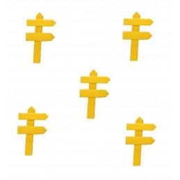 MINIATURE EN BOIS : lot de 5 pancartes de direction jaune 5*3cm