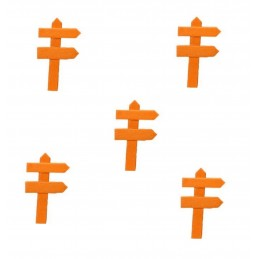 MINIATURE EN BOIS : lot de 5 pancartes de direction orange 5*3cm