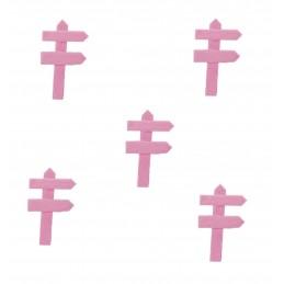 MINIATURE EN BOIS : lot de 5 pancartes de direction rose 5*3cm
