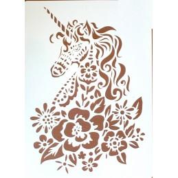 POCHOIR PLASTIQUE 30*21cm : cheval licorne (02)