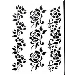 POCHOIR PLASTIQUE 26*18cm :  3 frises fleuries