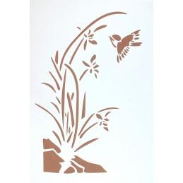 POCHOIR PLASTIQUE 30*21cm : fleur des étangs et oiseau (02)