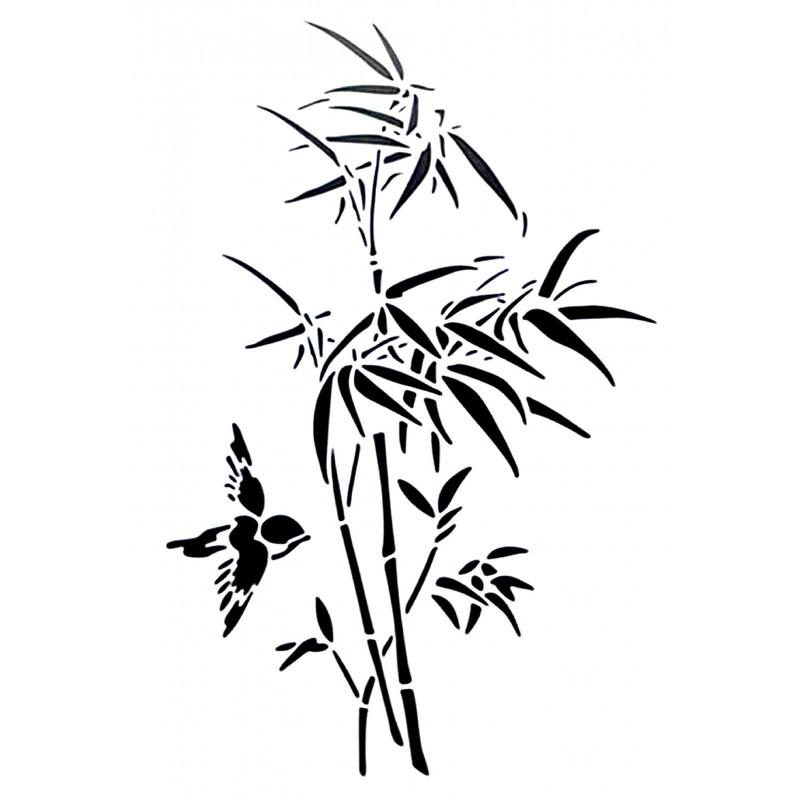 POCHOIR PLASTIQUE 30*21cm : fleur des étangs et oiseau (01)