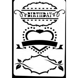 POCHOIR PLASTIQUE 26*18cm : cadre birthday (01)