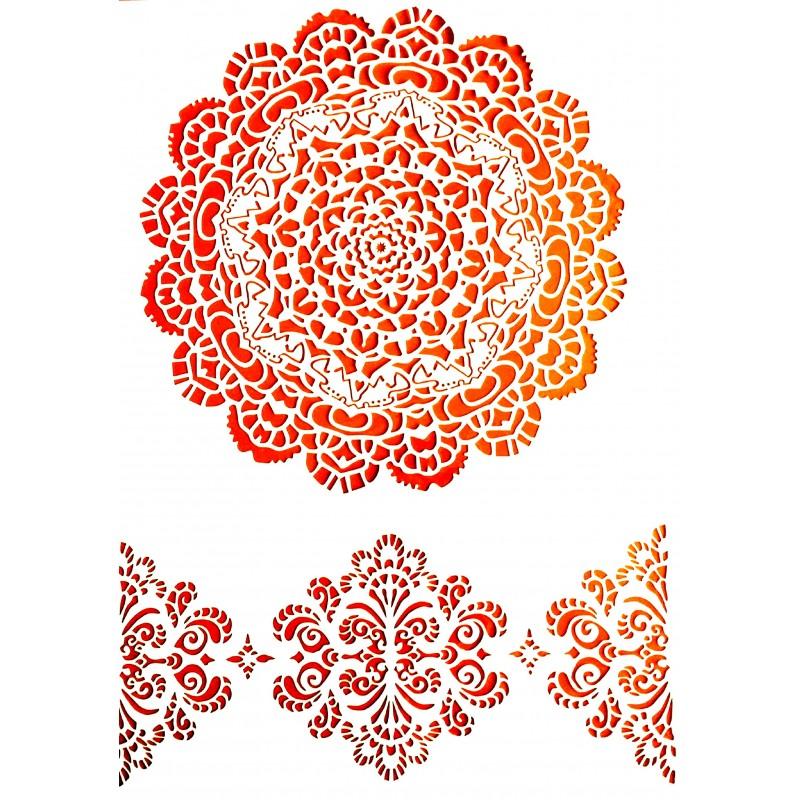 POCHOIR PLASTIQUE 30*21cm : motif fantaisie (117)