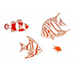 POCHOIR PLASTIQUE 30*21cm : poissons (02)