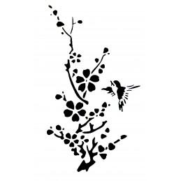 POCHOIR PLASTIQUE 30*21cm : oiseau et fleur (05)