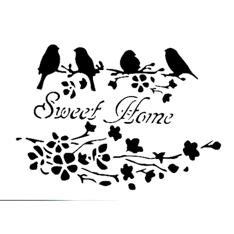 POCHOIR PLASTIQUE 30*21cm : oiseau et fleur (06)