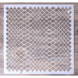 POCHOIR PLASTIQUE 13*13cm : mur motif filet