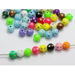 LOT 25 PERLES ACRYLIQUES : ronde multicolores points argent 7mm