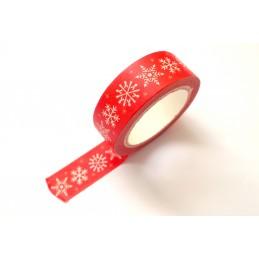 Ruban Washi 15 mm x 5 m motif Noel classique rouge et flocon de neige