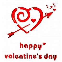 POCHOIR PLASTIQUE 13*13cm : coeur happy valentine's day
