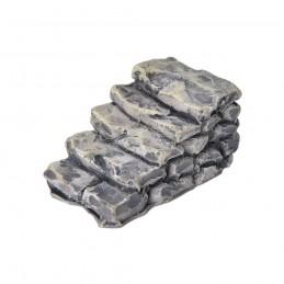MINIATURE EN RESINE : escalier droit imitation pierre grise longueur 3cm