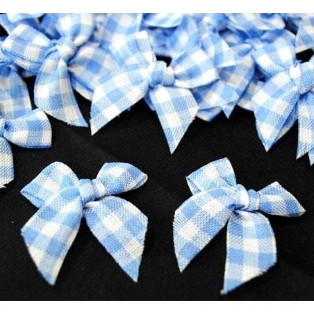 LOT 6 APPLIQUES TISSUS : noeud papillon vichy bleu/blanc 35mm
