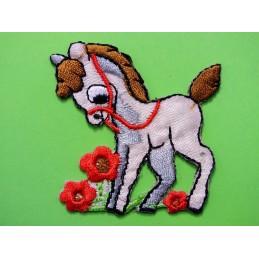 APPLIQUE TISSU THERMOCOLLANT : poney marron 50 x50mm