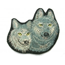 APPLIQUE TISSU THERMOCOLLANT : deux loups 10*8cm