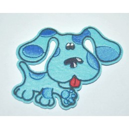 APPLIQUE TISSU THERMOCOLLANT : chien bleu 90 x70mm