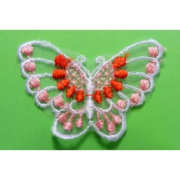 APPLIQUE DENTELLE : papillon rose/rouge 60 x40mm