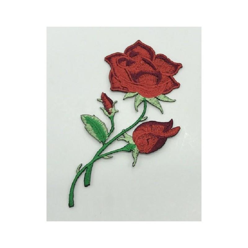 APPLIQUE THERMOCOLLANT : rose couleur rouge 120 x70mm