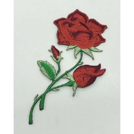 APPLIQUE THERMOCOLLANT : rose couleur rouge 120 x70mm