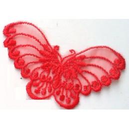 APPLIQUE DENTELLE : papillon rouge 80 x40mm