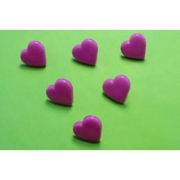 LOT 6 BOUTONS : coeur mauve 15mm