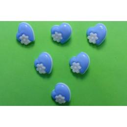LOT 6 BOUTONS : coeur bleu...
