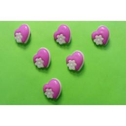 LOT 6 BOUTONS : coeur mauve + fleur blanche 14mm