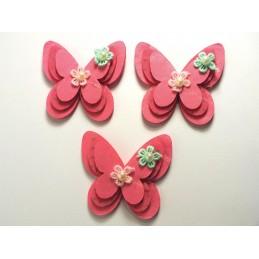 LOT 3 APPLIQUES  : papillon  fleur et perle 3 epaisseurs 60  x50mm