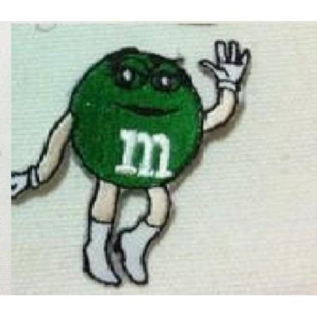 APPLIQUE TISSU THERMOCOLLANT : M & M vert 80 x70mm